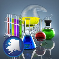 alaska colorful chemicals in chemical laboratory vessels