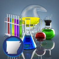 arkansas colorful chemicals in chemical laboratory vessels