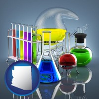 arizona colorful chemicals in chemical laboratory vessels