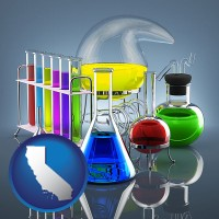 california colorful chemicals in chemical laboratory vessels