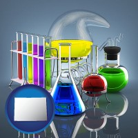 colorado colorful chemicals in chemical laboratory vessels