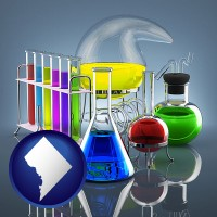washington-dc colorful chemicals in chemical laboratory vessels