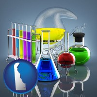delaware colorful chemicals in chemical laboratory vessels