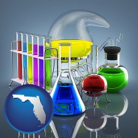 florida colorful chemicals in chemical laboratory vessels