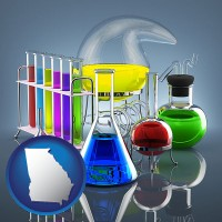 georgia colorful chemicals in chemical laboratory vessels