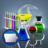 iowa colorful chemicals in chemical laboratory vessels