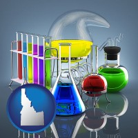 idaho colorful chemicals in chemical laboratory vessels