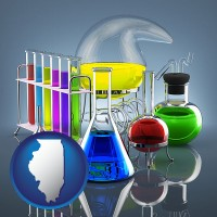 illinois colorful chemicals in chemical laboratory vessels