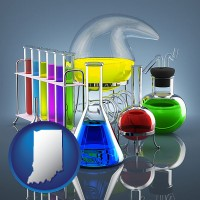 indiana colorful chemicals in chemical laboratory vessels
