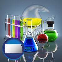 kansas colorful chemicals in chemical laboratory vessels