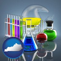 kentucky colorful chemicals in chemical laboratory vessels