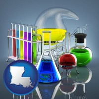louisiana colorful chemicals in chemical laboratory vessels
