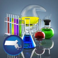 massachusetts colorful chemicals in chemical laboratory vessels