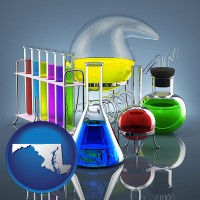 maryland colorful chemicals in chemical laboratory vessels