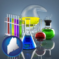 maine colorful chemicals in chemical laboratory vessels