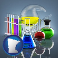 minnesota colorful chemicals in chemical laboratory vessels