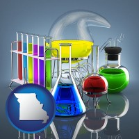 missouri colorful chemicals in chemical laboratory vessels