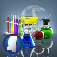 mississippi colorful chemicals in chemical laboratory vessels