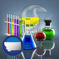 montana colorful chemicals in chemical laboratory vessels