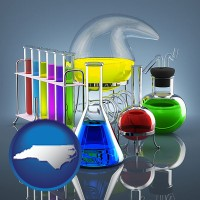north-carolina colorful chemicals in chemical laboratory vessels