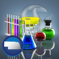 nebraska colorful chemicals in chemical laboratory vessels