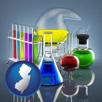 new-jersey colorful chemicals in chemical laboratory vessels