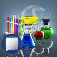 new-mexico colorful chemicals in chemical laboratory vessels
