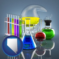 nevada colorful chemicals in chemical laboratory vessels