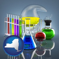 new-york colorful chemicals in chemical laboratory vessels