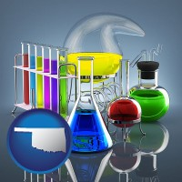 oklahoma colorful chemicals in chemical laboratory vessels