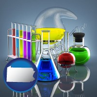 pennsylvania colorful chemicals in chemical laboratory vessels