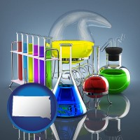 south-dakota colorful chemicals in chemical laboratory vessels
