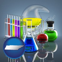 tennessee colorful chemicals in chemical laboratory vessels