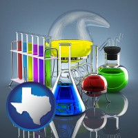 texas colorful chemicals in chemical laboratory vessels