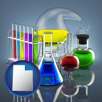 utah colorful chemicals in chemical laboratory vessels