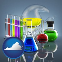 virginia colorful chemicals in chemical laboratory vessels