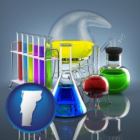 vermont colorful chemicals in chemical laboratory vessels
