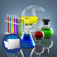 washington colorful chemicals in chemical laboratory vessels