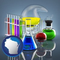 wisconsin colorful chemicals in chemical laboratory vessels