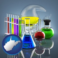 west-virginia colorful chemicals in chemical laboratory vessels