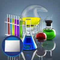 wyoming colorful chemicals in chemical laboratory vessels