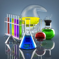 colorful chemicals in chemical laboratory vessels